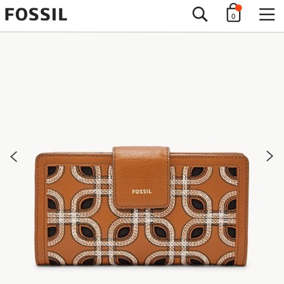 Fossil RGID Logan Wallet Brown Embroidered New